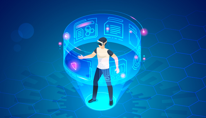 A VR man in interactive 3D world