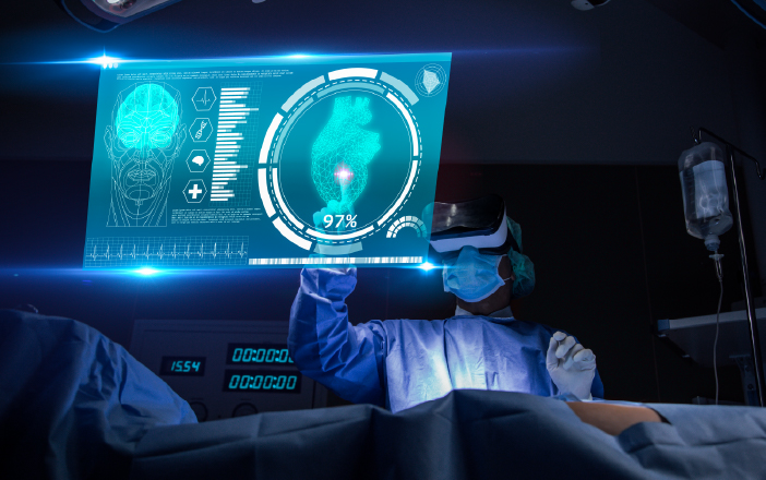 Doctor analysing patient condition virtually