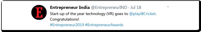 Entrepreneur India Tweet Congratulating iB Cricket